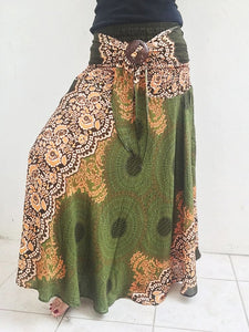 Green Mandalar Hippie Skirt Beach Dress - Boho Skirts