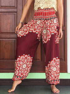 Burgundy High Waist Pants Plus Unisex - Yoga Pants