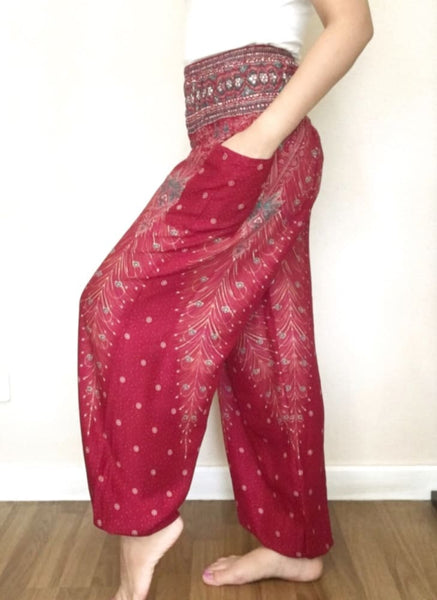 Maroon Peacock Classic Long Pants For Women - Yoga Pants