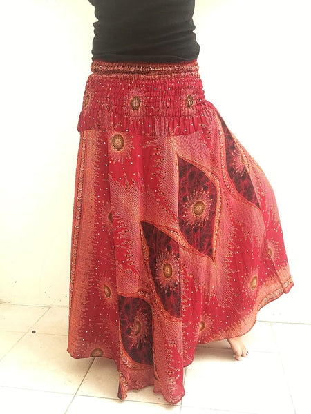 Maroon Peacock Plus Wrap Skirt - Boho Skirts