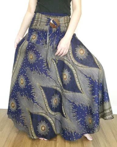 Navy Boho Maxi Skirt Dress Beach Party 6-14 - Boho Skirts