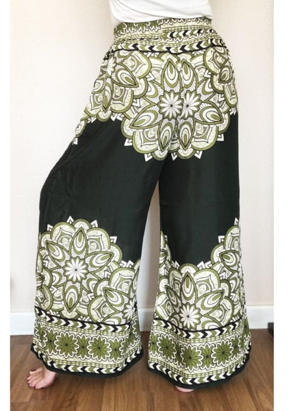 Olive Wide Palazzo Pantaloni With Two Pockets - Wide Legs Pants