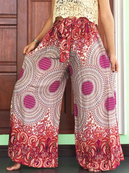 Pink Floral Wide Legs Pants Palazzo Grousers - Wide Legs Pants