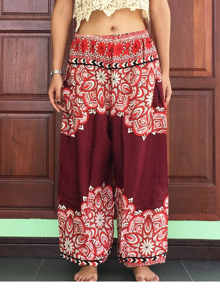 Plus Burgundy Fashion Summer Trousers - Yoga Pants