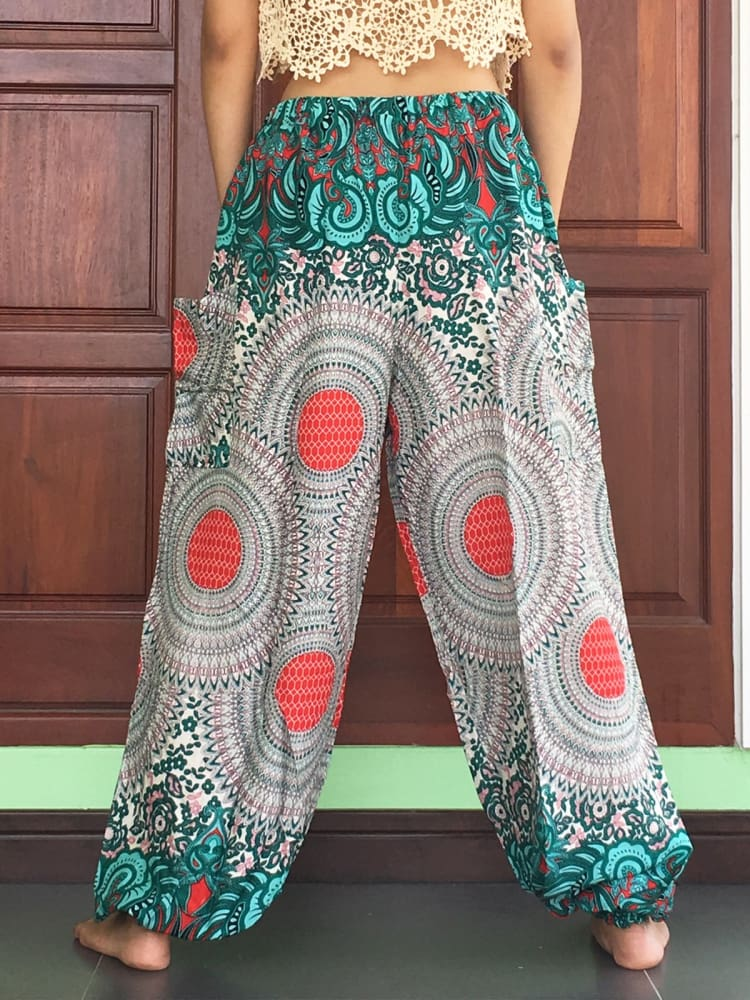 Plus Green Mandalar Rayon Goa Pants - Yoga Pants