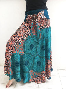 Plus Turquoise Full Long Florals Skirt Dress - Boho Skirts