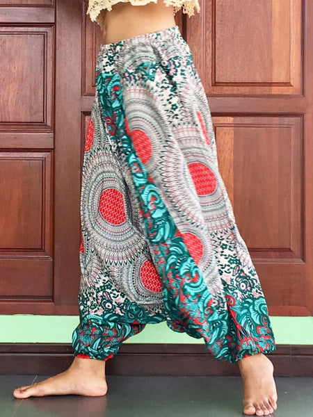 Plus Unisex Green Harem Pants Hippie Trousers - Harem Pants