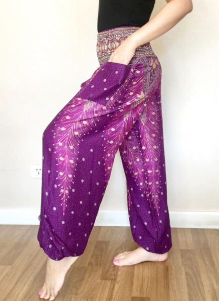 Purple Peacock Classic Loose Summer Pants High Waist Smock - Yoga Pants