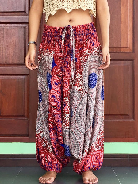 Red Haremjumpsuit Baggy Trousers - Harem Pants