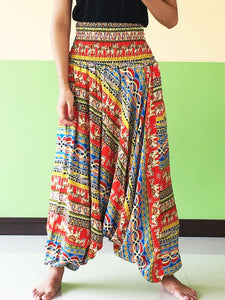 Red Harem Pants For Women Striped Elephant - Harem Pants