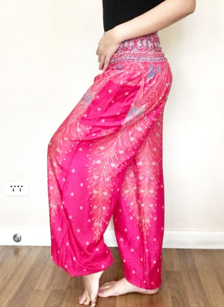 Sweet Pink Peacock Classic Hippie Pants Elastic Smock - Yoga Pants