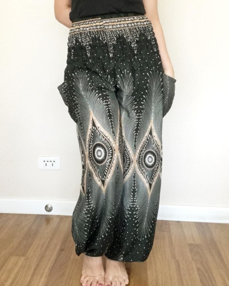 Thai Black Peacock Eyes Balloon Long Pants Smock - Yoga Pants