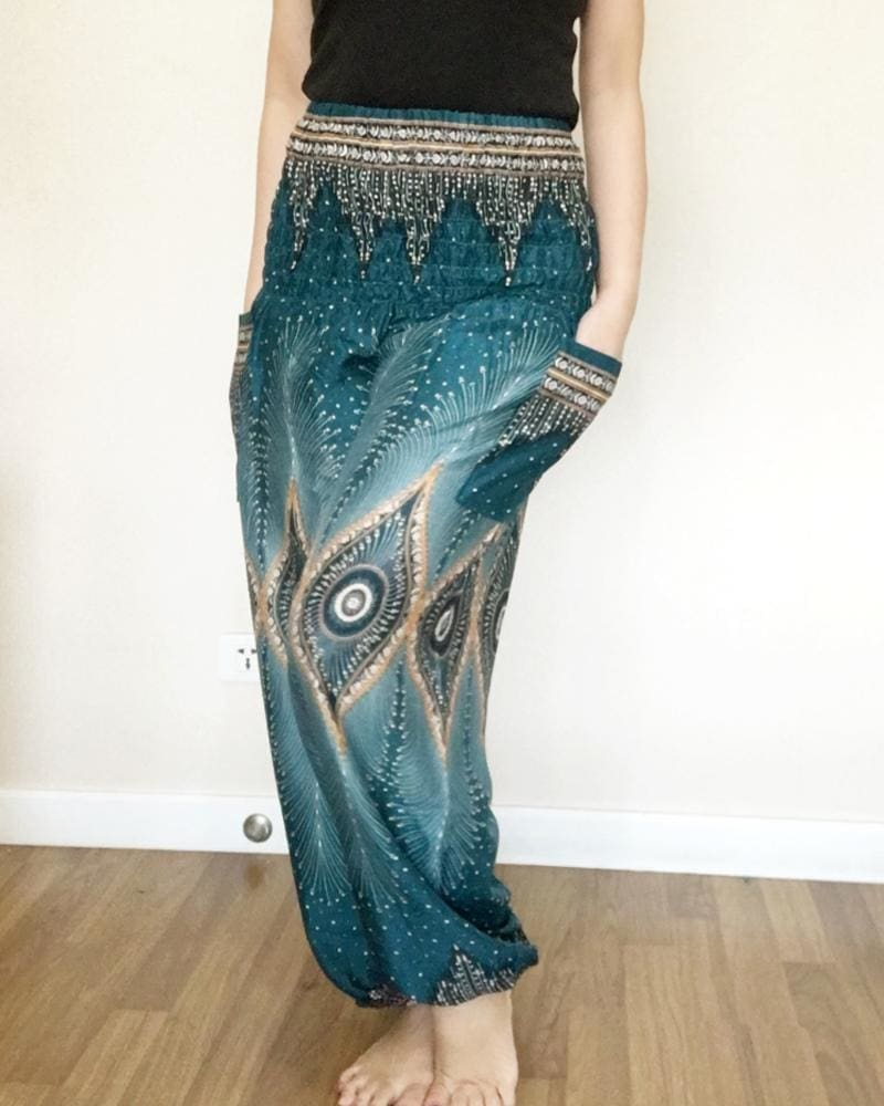 Turquoise Peacock Balloon Pants Smock - Yoga Pants