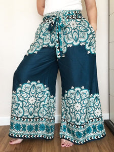 Turquoise Wide Legs Pants Palazzo Fashion Summer With Two Pockets - Wide Legs Pants