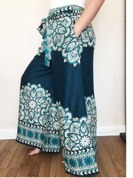 Turquoise Wide Legs Pants Palazzo Fashion Summer With Two Pockets - Free Size / Turquoise - Wide Legs Pants