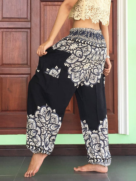 Black Genie Pants Unisex Summer - Yoga Pants