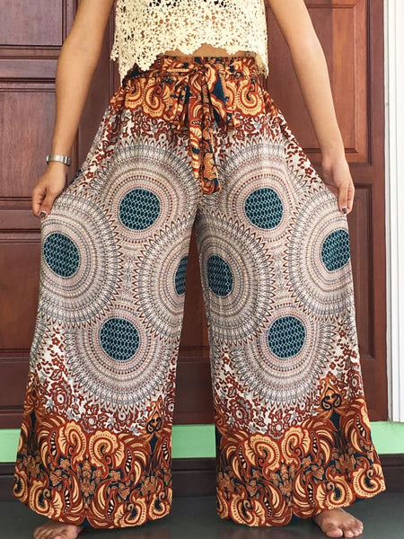 Khakie Wide Legs Pants Palazzo Trousers - Wide Legs Pants