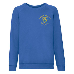 Rawdon St Peters Primary Royal Blue Sweatshirt with logo poly/cotton