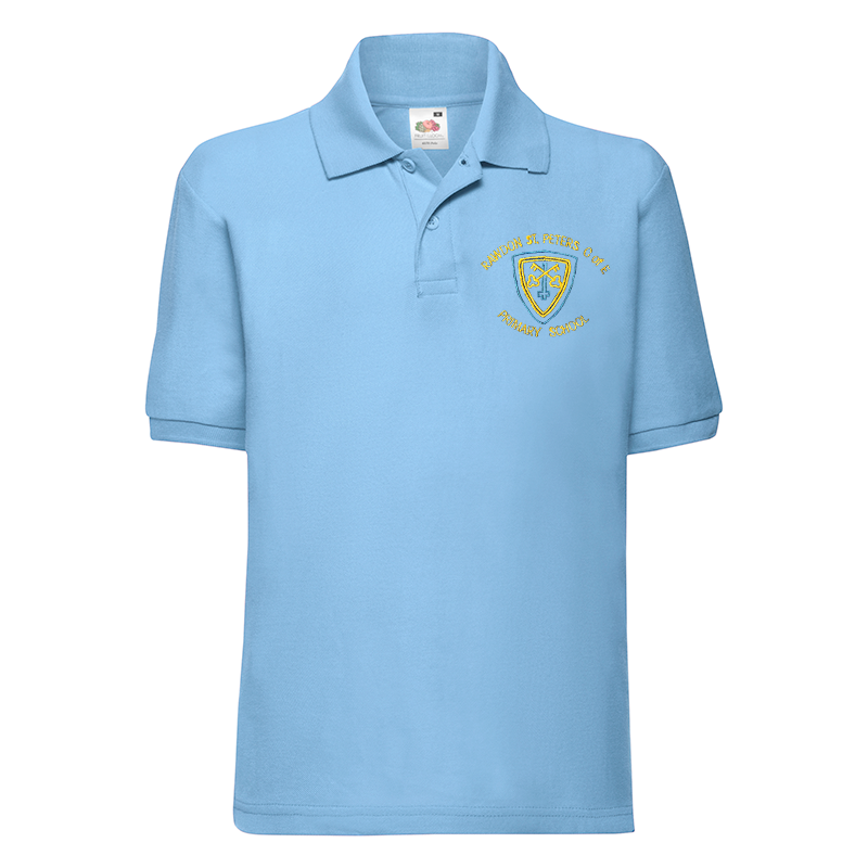 Rawdon St Peters Primary Polo T-Shirt with Logo (Sky Blue)