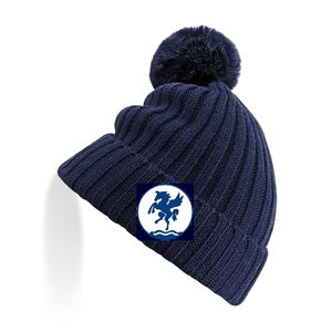 Leeds Hockey Knit Fur Pom Pom Beanie