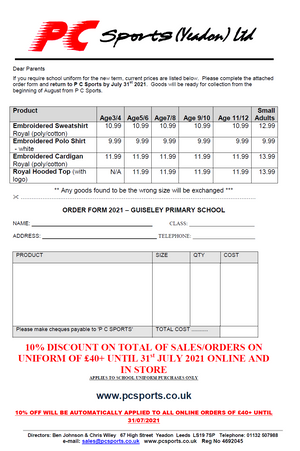 Guiseley Primary Price List