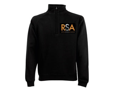 Stage Academy Mens Black Zip Neck Sweater with Logo