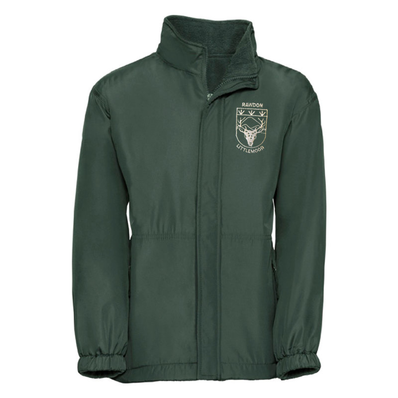 Rawdon Littlemoor Primary Green Reversible Raincoat with Logo
