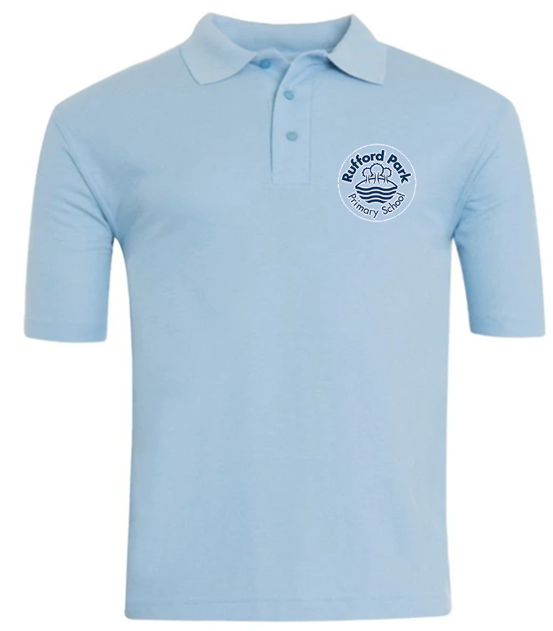 Rufford Park Blue Polo Shirt with Embroidered School Logo