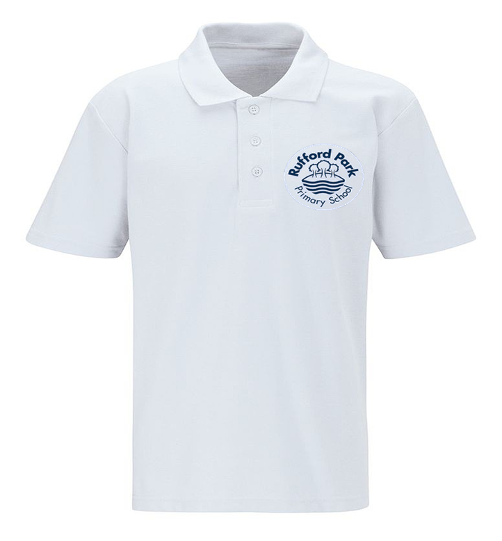 Rufford Park White Polo Shirt with Embroidered School Logo