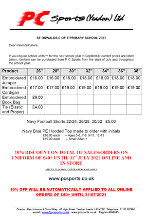 St Oswald's Primary Price List