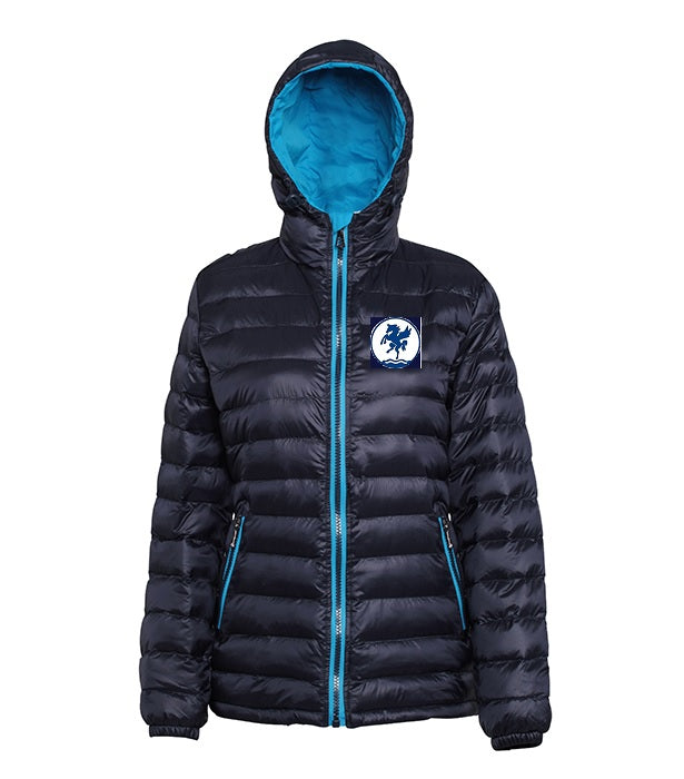 Ladies full zip padded jacket in navy/sapphire with club logo