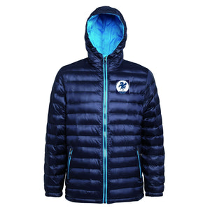 Mens full zip padded jacket in navy/sapphire with club logo