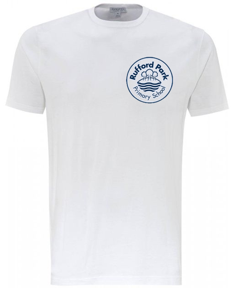 Rufford Park White PE T Shirt with Embroidered School logo