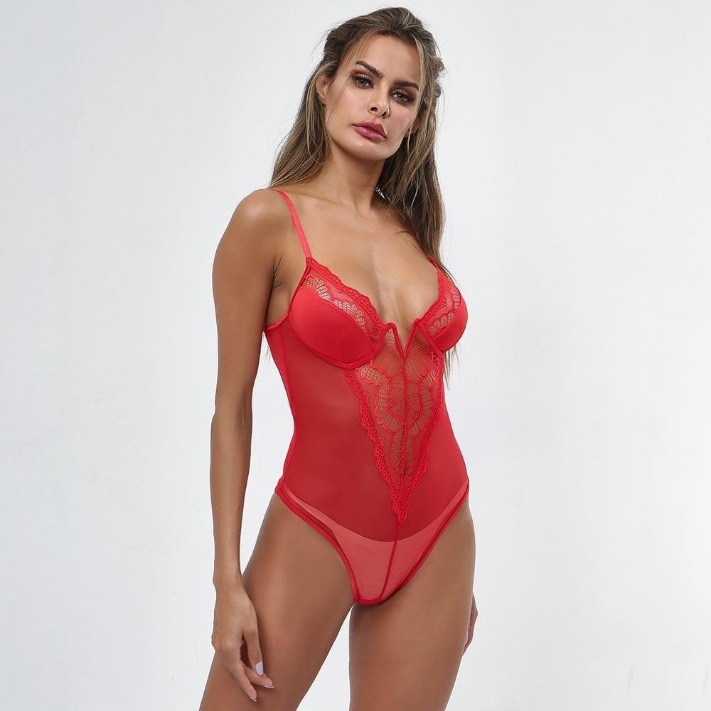 Body transparent en dentelle rouge