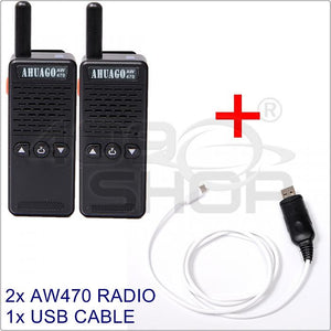 2x AHUAGO M2 AW-470 Mini 2.5W mini Two-way Radio FREE 1x USB CABLE