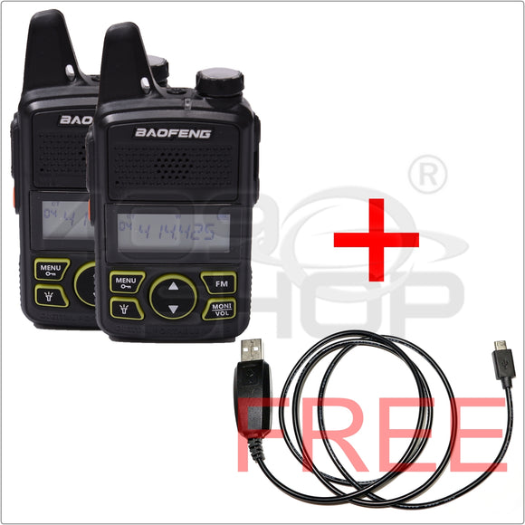 2x BAOFENG BF-T1 UHF 400-420mhz mini walkie talkie FREE 1x USB prog cable