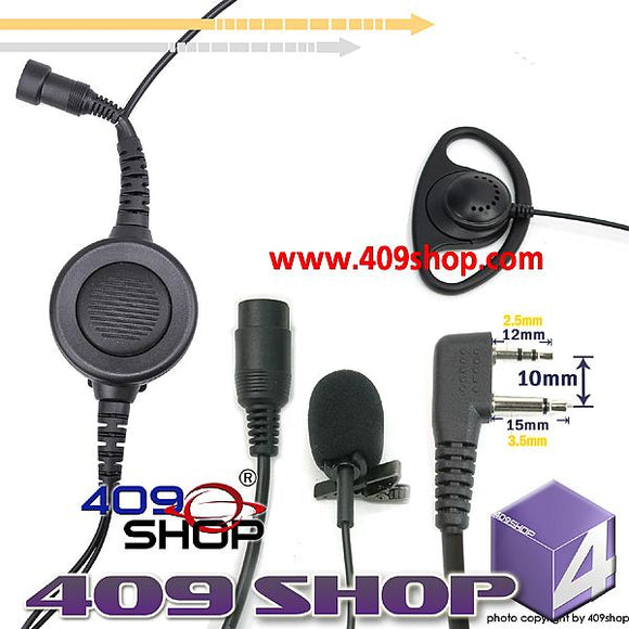 D Ring Earpiece with Big Switch PTT+MiniDin Plug44-S2(L) for SP330 SP340 SL25