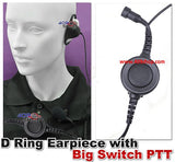 D Ring Earpiece with Big Switch PTT+Mini Din Plug 44-S6 for F25 F33G F3Gs