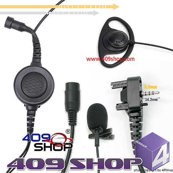 D Ring Earpiece with Big Switch PTT+Mini Din Plug 44-Y4 for VX180 VX210 VX210A