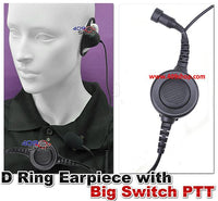 D Ring Earpiece with Big Switch PTT +Mini Din Plug 44-Y7 for FT-270 FT-277 HX-471