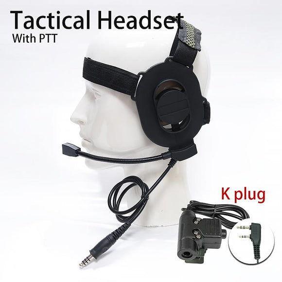 409shop K Plug Tactical Headset + PTT for 2-Pin Kenwood Wouxun