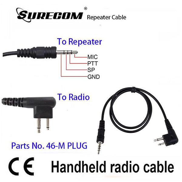 Surecom Repeater Controller Cable for Motorola GP88 GP3688, GP3188, GTI, GTX, LTS2000