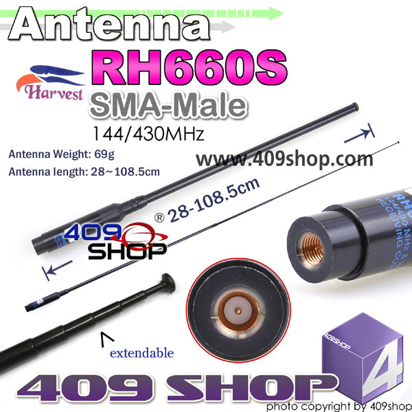 HARVEST RH660SSM Dual Band 144/430MHZ Extendable SMA-Male Antenna