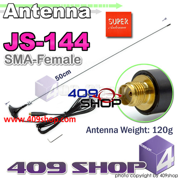 SUPER JS1-144 SMA-FEMALE 145/435MHZ Mobile MAGNETIC 50CM ANTENNA