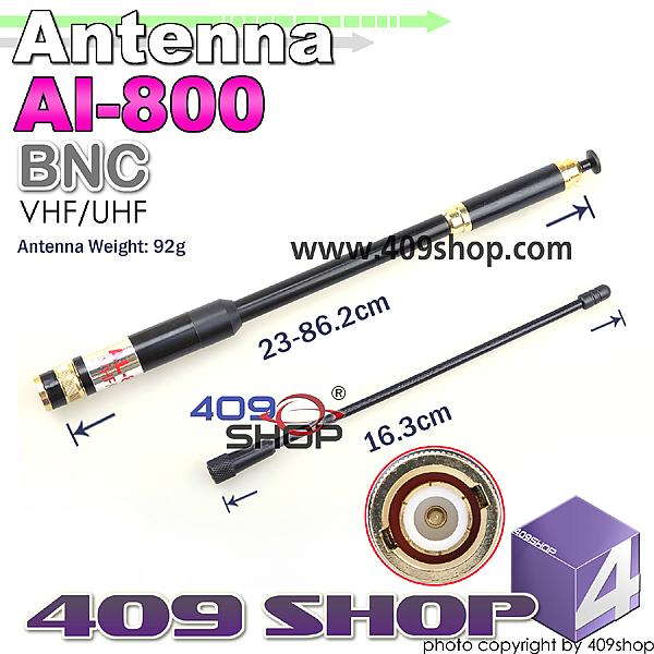 TELESCOPIC ANTENNA BNC AL-800 Extendable VHF/UHF Antenna