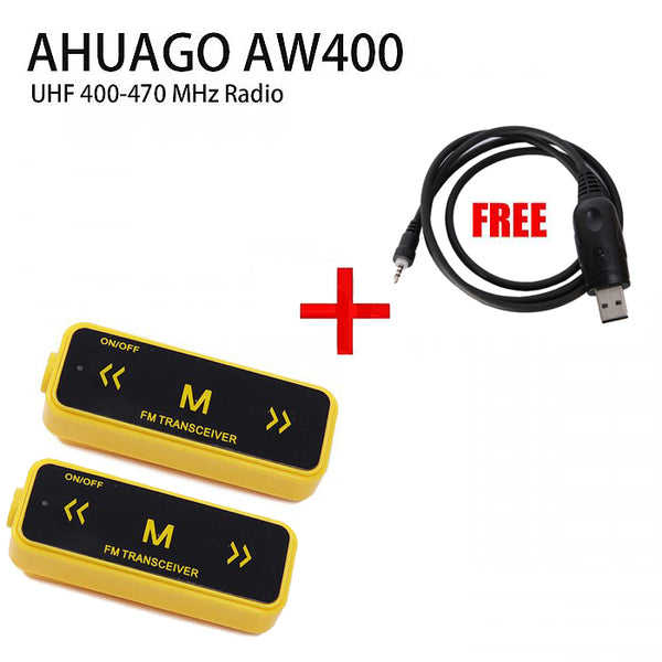 AHUAGO Mini Radio YELLOW 16 Channel Walkie Talkie UHF FREE FOR Win7 USB cable