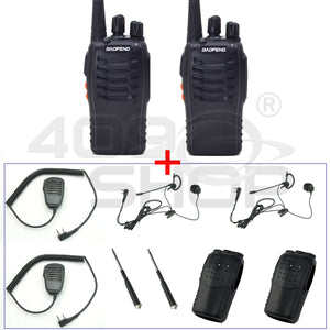 2x BAOFENG BF-888SU WALKIE TALKIE + EARPIECE + MIC + ANTENNA + SOFT CASE