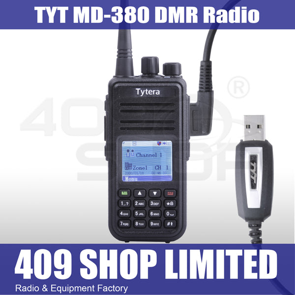 Tytera DMR MD-380 UHF 400-480MHz + usb cable + Car Battery
