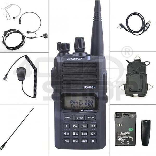 PUXING PX-888K (B) dual band two way Radio + CABLE + ANTENNA + CASE + EARPIECE + MIC + CASE