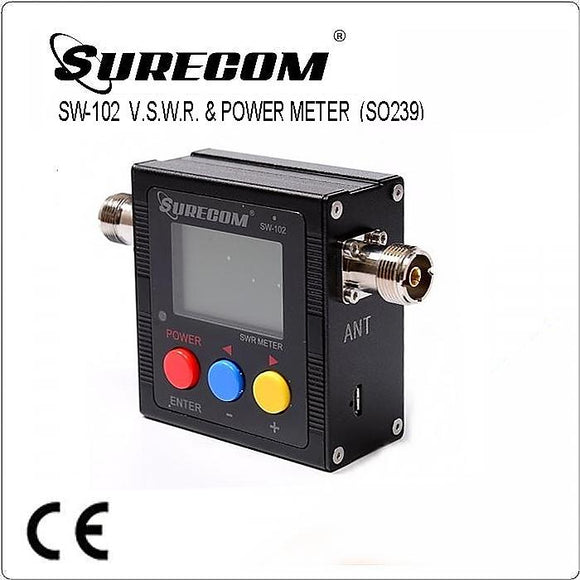 SURECOM SW-102 SO239 connector V.S.W.R. POWER METER